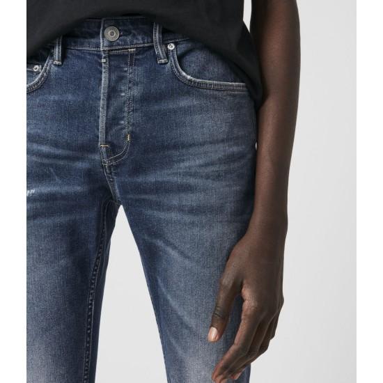 Allsaints En Solde Jean Skinny Usé Cigarette, Bleu Brut