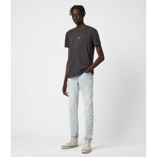Allsaints En Solde Rex Damaged Slim Jeans, Light Indigo Blue
