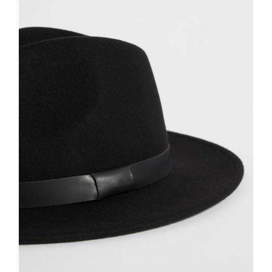 Allsaints En Solde Chapeau Fedora Bronson en cuir