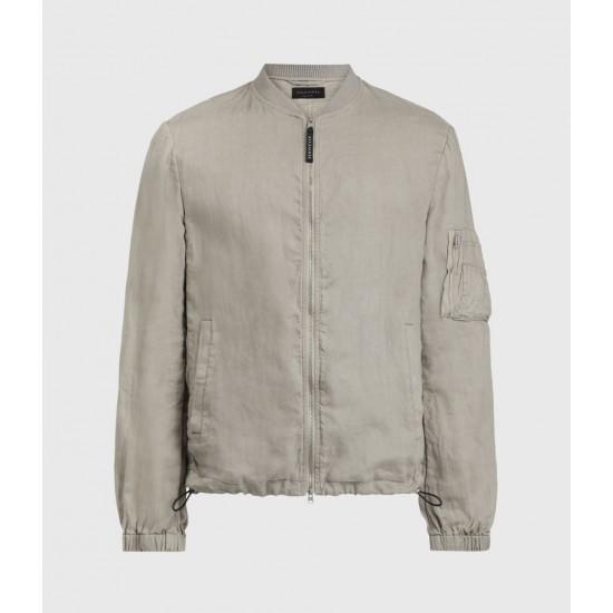 Allsaints En Solde Borra Linen Bomber Jacket