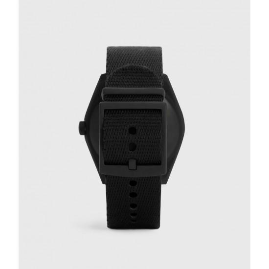 Allsaints En Solde Montre à Bracelet en Nylon Untitled I, Noir & Noir Mat