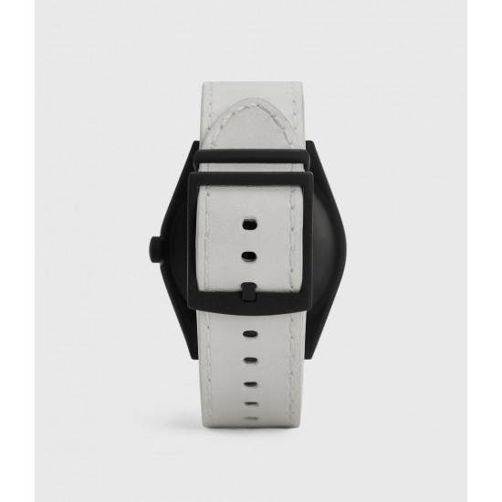 Allsaints En Solde Montre à Bracelet en Cuir Mat Untitled IV, Noir & Blanc