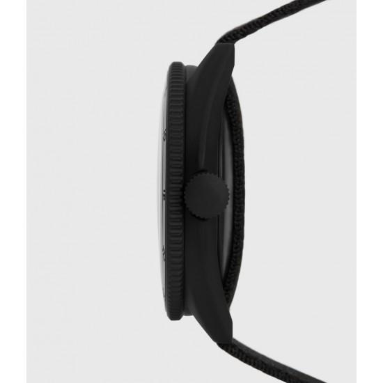 Allsaints En Solde Montre à Bracelet en Nylon Subtitled GMT I, Noir & Noir