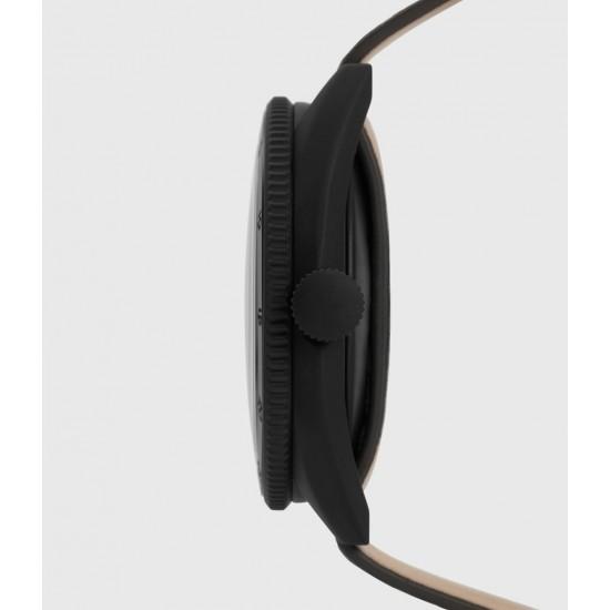 Allsaints En Solde Montre à Bracelet en Cuir Subtitled GMT VI, Anthracite & Noir