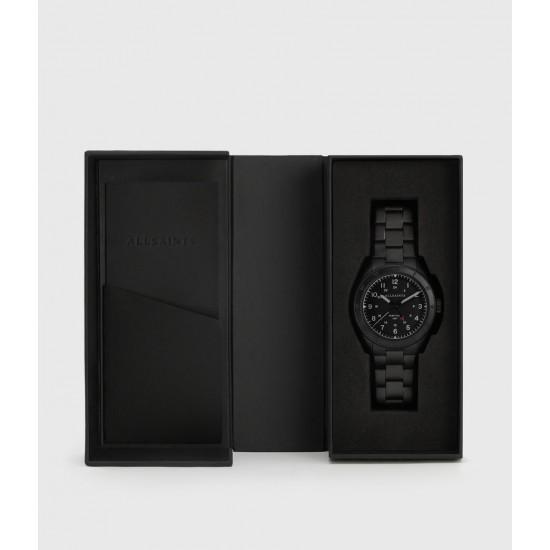 Allsaints En Solde Montre à Maillons Enveloppés de Cuir Subtitled GMT V, Noir & Noir