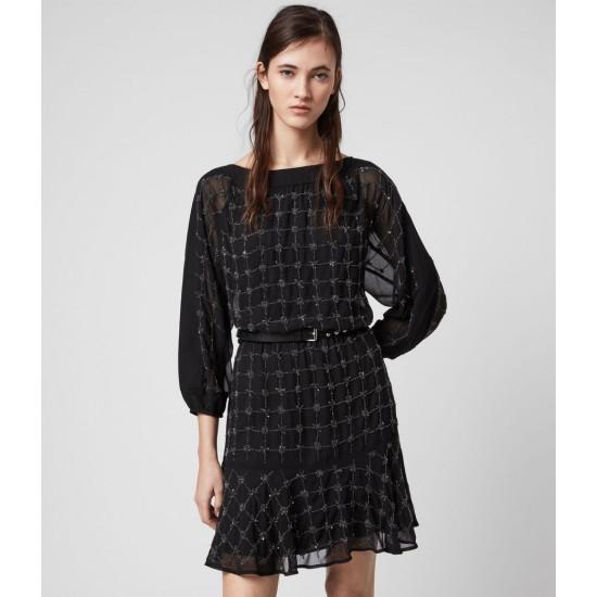 Allsaints En Solde Laci Grid Dress