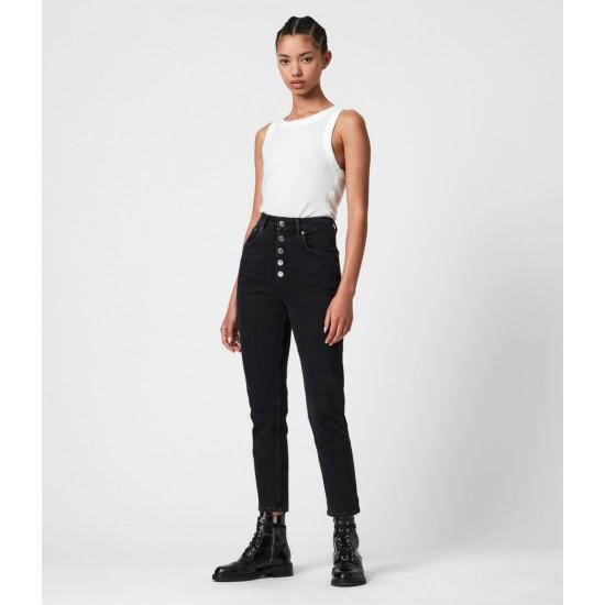 Allsaints En Solde Jules High-Rise Slim Jeans, Washed Black
