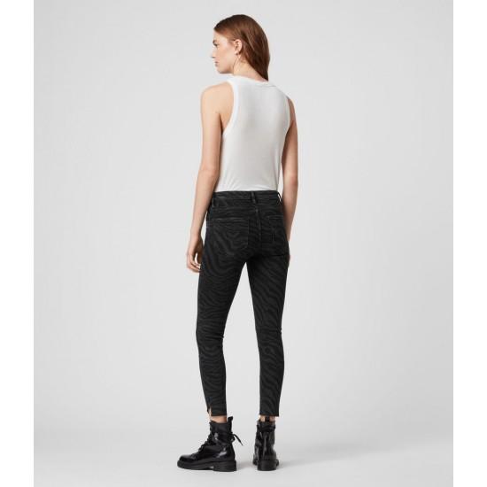 Allsaints En Solde Jean Skinny Taille Mi-Haute Grace Seebra, Jacquard Noir