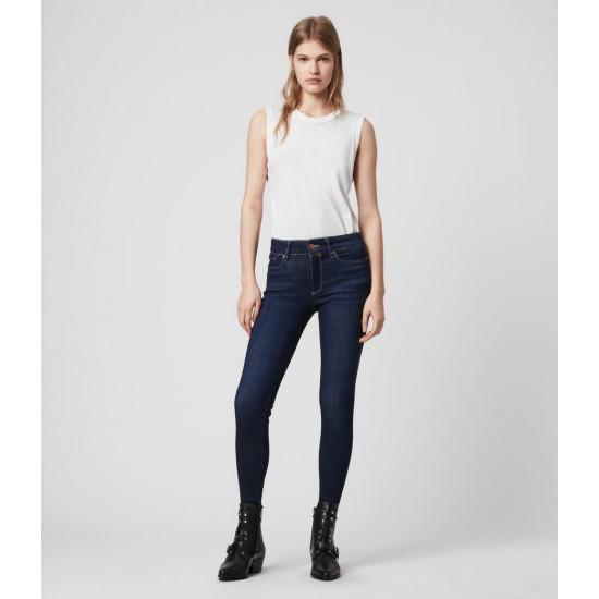 Allsaints En Solde Jean Taille Mi-Haute Superstretch Skinny, Bleu Indigo Brut
