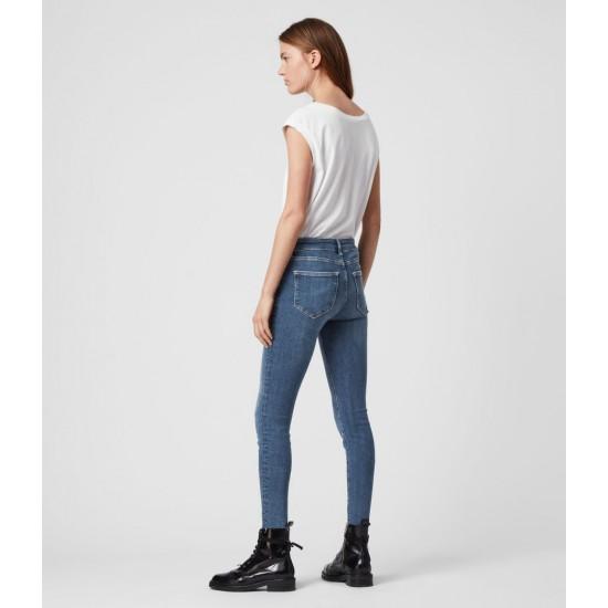 Allsaints En Solde Jean Skinny Taille Mi-Haute Miller, Bleu Indigo