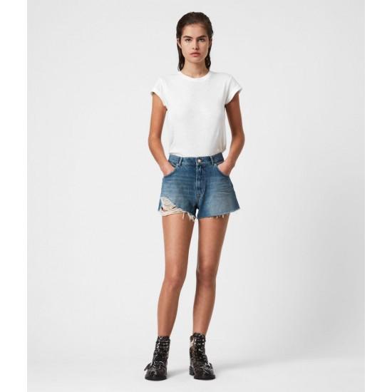Allsaints En Solde Winnie Cut Off High-Rise Denim Shorts