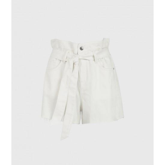 Allsaints En Solde Hannah Paperbag Denim Shorts