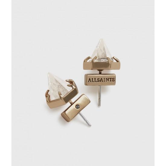Allsaints En Solde Puces d'Oreilles Kailey Couleur Or Cristal Incolore