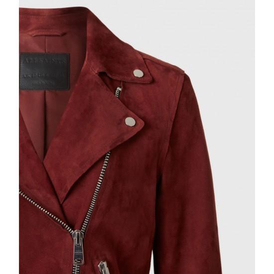 Allsaints En Solde Dalby Redge Suede Biker Jacket