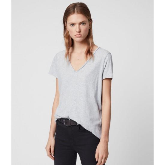 Allsaints En Solde T-Shirt à Manches Courtes & Col V Emelyn Tonic