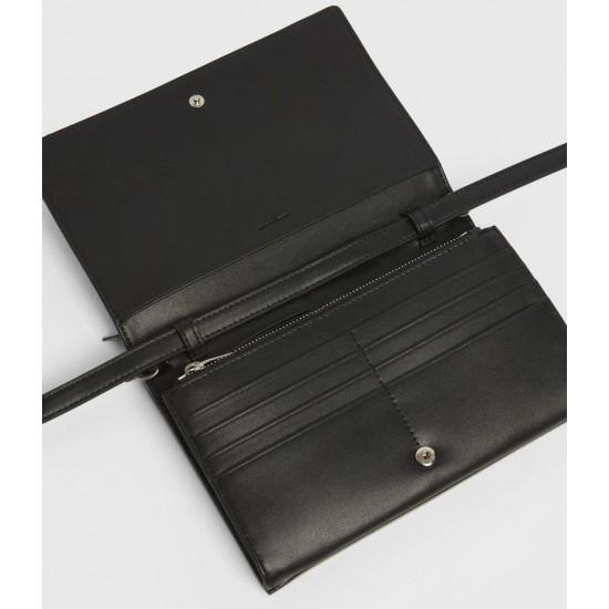 Allsaints En Solde Claremount Leather Chain Crossbody Bag