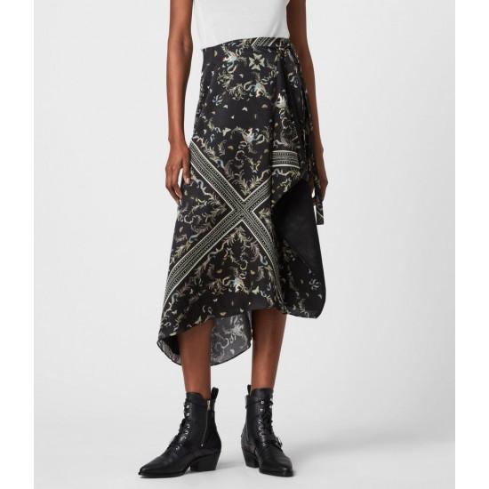 Allsaints En Solde Maia Assam Silk Blend Skirt